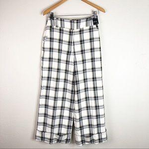 🌿 NY&C Unique White Plaid Wide Leg Pants Designer